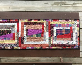 Table Runner Extra-Large Reversible Red Quilted Log Cabin Pattern Wall-Hanging Rustic Artwork Wife Gift Gift for Her Diningroom Decor