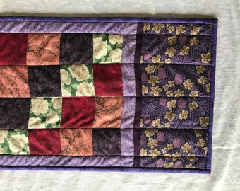 Table Runner Reversible Purple Quilted 4-Patch Pattern Wife Gift Gift for Her Diningroom Decor