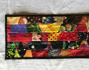 Table Runner Reversible Black Colorful Quilted Elegant Wife Gift Gift for Her Diningroom Decor Picnic