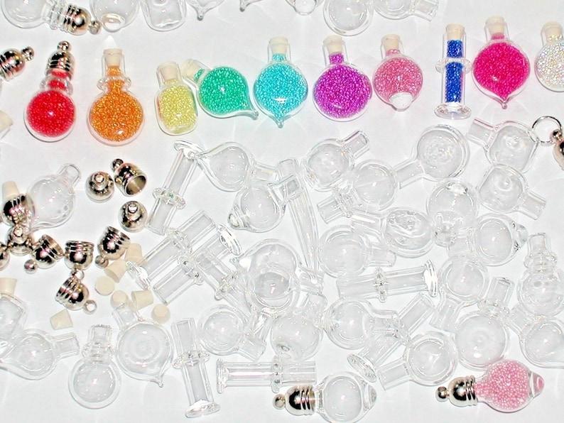 10pc  Wholesale MIX Lot Small Glass tiny miniature pendant necklace charm potion vials bottles New