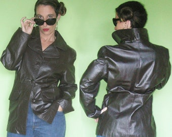 32768b617f FREE SHIPPING 70s Leather Car Coat Argentina Womens Boho Funky Hippy Street  Smart MDM