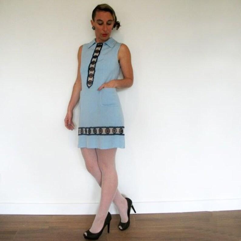 8f29e9f096c4 FREE SHIPPING 60s A Line Mini Dress Blue Daisies Sleeveless | Etsy