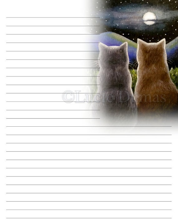 Digital Printable Journal writing lined Page Cat 618 Stationary 8x10 Download Scrapbooking Paper Template art painting L.Dumas