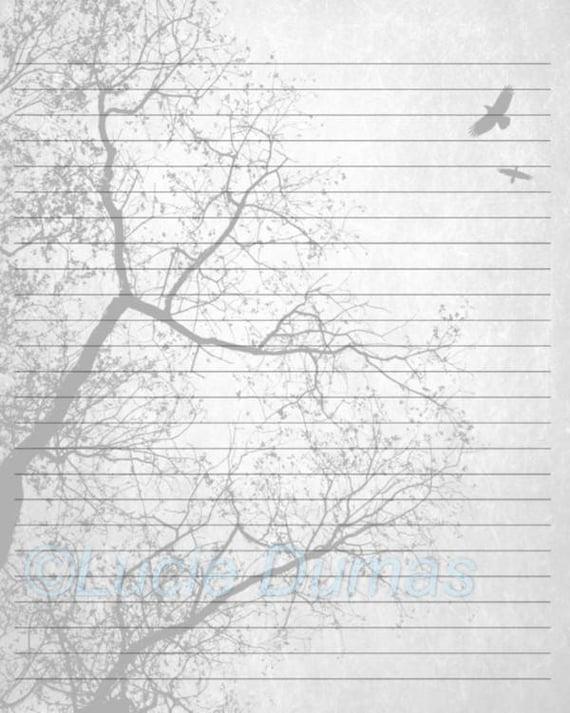 Digital printable journal page design 24 tree bird stationary etsy image 0 maxwellsz