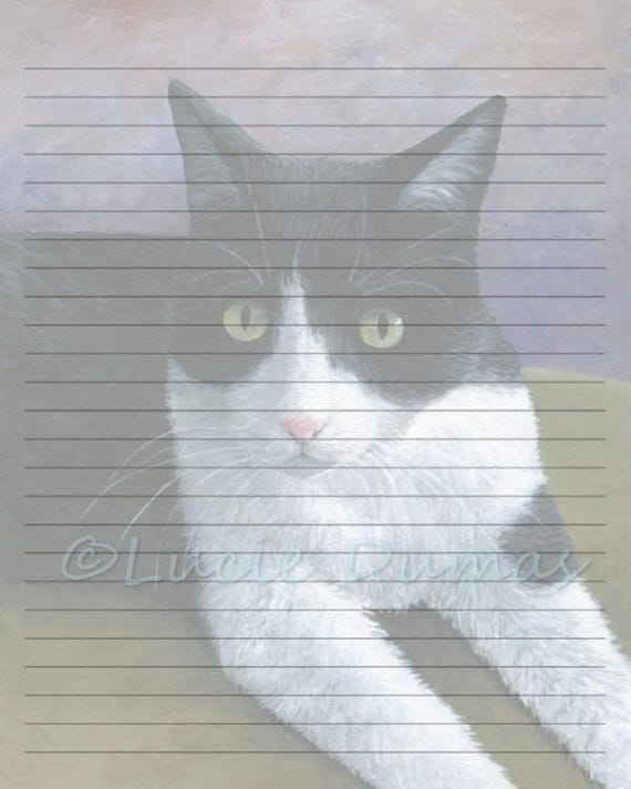 digital printable journal writing lined page cat 577 tuxedo etsy