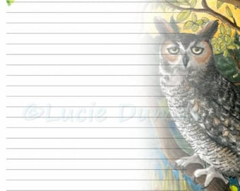 Digital Printable Journal writing lined Page Bird 68 Owl Stationary 8x10 Download Scrapbooking Paper Template art painting L.Dumas