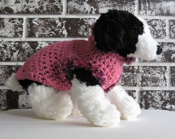 Dog sweater in pink with fur trim in sizes xs, sm. fancy dog sweater, pink fur trimmed dog sweater