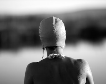 Black and White Photography of a Girl Swimmer in a Pond