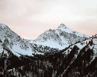 Nature  Photography White Mountains with Snow in the Early Morning
