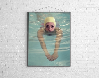 Swimming Pool Photography Girl Swimming in Vintage Pool