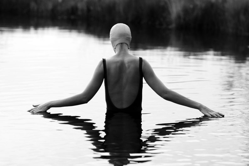 Black and White Photography of a Girl Swimmer in a Pond - Lucy Snowe.