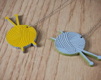 Yarn and Knitting Needles Necklace 'The Knitter' Pendant