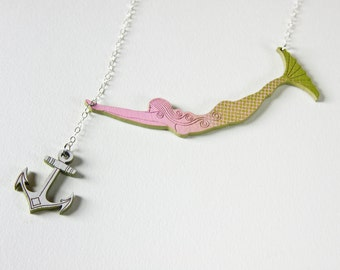 Rose the Mermaid Necklace with Anchor