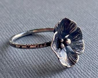 Sterling Silver Flower Blossom Ring