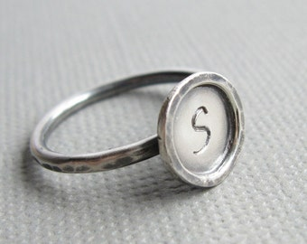 Personalized Custom Initial Stacking Ring Sterling Silver Letter Skinny