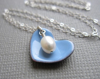 Periwinkle Blue Heart Necklace White Pearl Sterling Silver Enamel