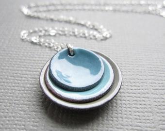 Robins Egg Blue Gray Modern Minimalist Enamel Necklace Sterling Silver