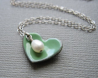 Green Heart Necklace White Pearl Sterling Silver Enamel