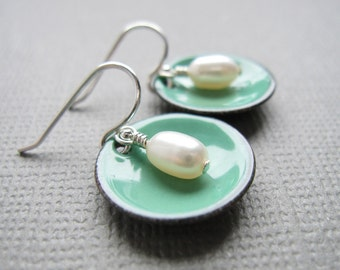 Mint Green Enamel White Pearl Modern Minimalist Circle Earrings