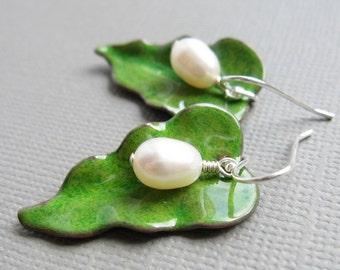 Green Enamel Leaf Earrings White Pearl