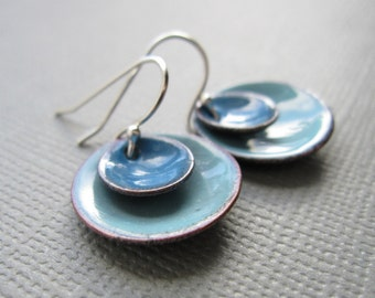 Blue Enamel Layered Circle Earrings