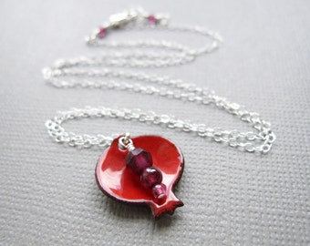 Pomegranate Necklace Red Enamel Judaica Garnet Sterling Silver