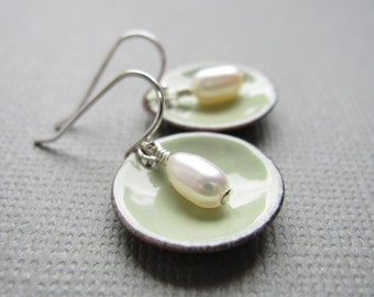 Tea Green Enamel White Pearl Modern Minimalist Circle Earrings