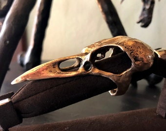 Bronze Crow Skull Ring