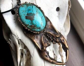 Bronze Scarab Talisman set with a Tibetan Turquoise