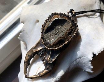 Bronze Scarab Talisman set with a Fossilized Ammonite