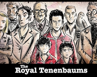 The Royal Tenenbaums Art Print. Director Wes Anderson. Illustration. Drawing. wall art. home decor. poster. picture.