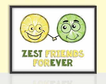 Lemon and Lime, Best Friends, Digital Print, Funny Nursery Room Art
