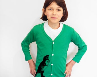 Green Cardigan Sweater with Dinosaur
