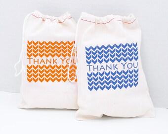 Custom Birthday Party Gift Bags, Set of 6, Chevron