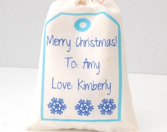 Holiday Gift Bags,  Personalized Gift Tag Bags