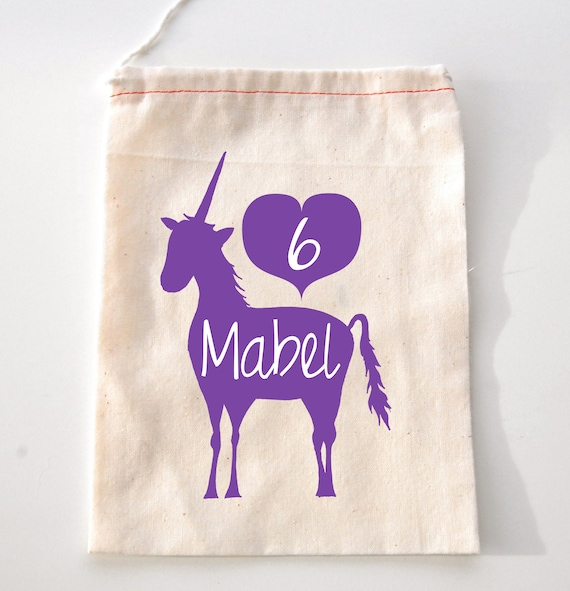 Party Favor bags, unicorn theme party, unicorn birthday, 6th birthday,  personalized favor