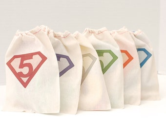 Superhero, Custom Birthday Party Gift Bags, Set of 6