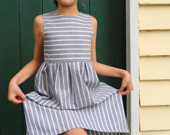171b437fdb Linen striped girls dress. Stripes Minimalist dress. Blue and white dress.  Linen fabric. V-back. Sunday dress. summer dress. Striped dress