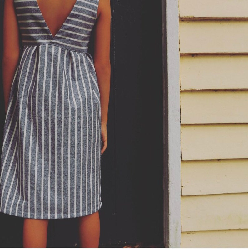 Linen fabric Stripes Minimalist dress Striped dress Sunday dress Linen striped girls dress Blue and white dress V-back summer dress