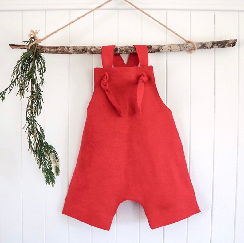 43655260488b Linen romper red unisex adjustable straps. Photo outfit family