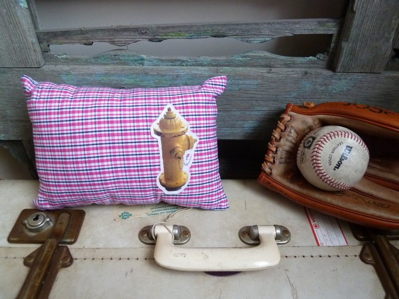 Americana Yellow Street Water Hydrant Transfer on Pink Child/'s Cushion OOAK Small Cushion Black /& White Plaid Fabric Throw Pillow