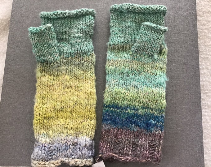 Featured listing image: Fingerless Mitts, hand-knitted fingerless gloves, texting mittens, fingerless mittens.