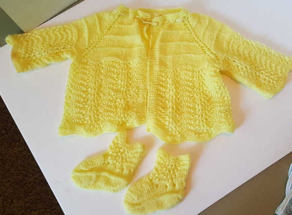 Sweet Hand Knit Yellow Baby Sweater and Booties Set 12-18 mo