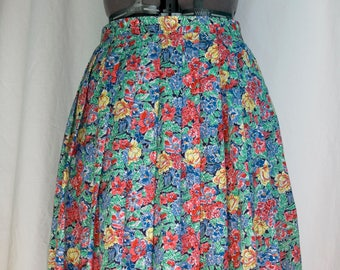 VINTAGE multicoloured floral high waist pleated midi skirt U.K. size S (12) 1980's Made in Great Britain
