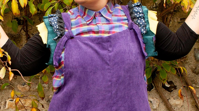 unique handmade in UK size 1618 UPCYCLED purple check cropped shirt with shoulder frill details o.o.a.k
