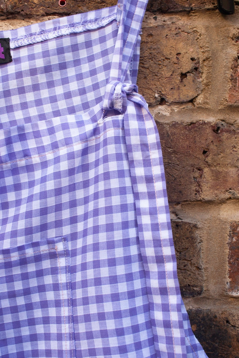 Peachy Queens collection UPCYCLED purple and white gingham cropped dungarees culottes with patch pockets o.o.a.k handmade in UK size 12-14