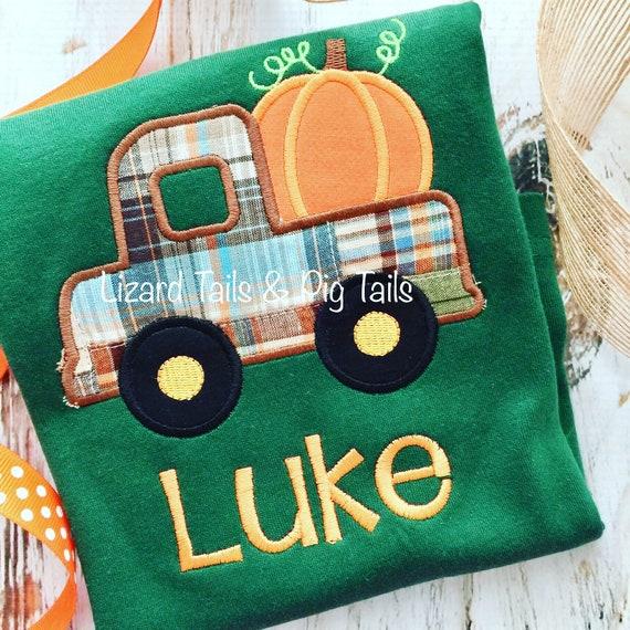 e6afd13b5 Boys Fall Halloween Thanksgiving applique shirt Truck Pumpkin | Etsy