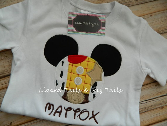 Personalized boys mickey woody applique disney vacation shirt etsy