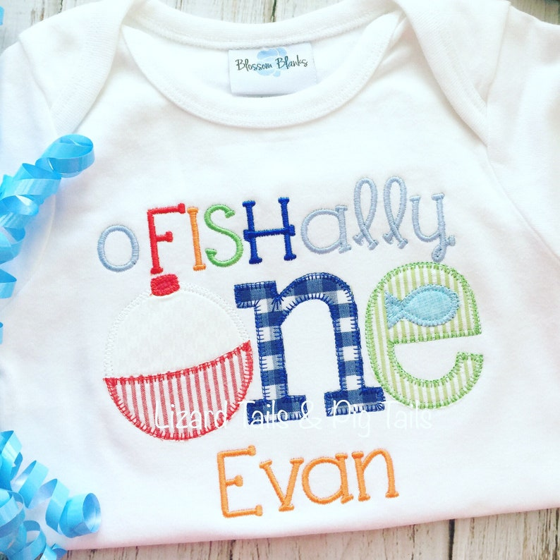 2dacba6cba002 Ofishally One Boys Fishing Birthday applique shirt bodysuit