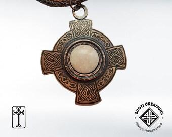 Viking Knit Necklace Celtic Even-Armed Cross Pendant Celtic Bronze Necklace Petrified Palm Wood Pendant